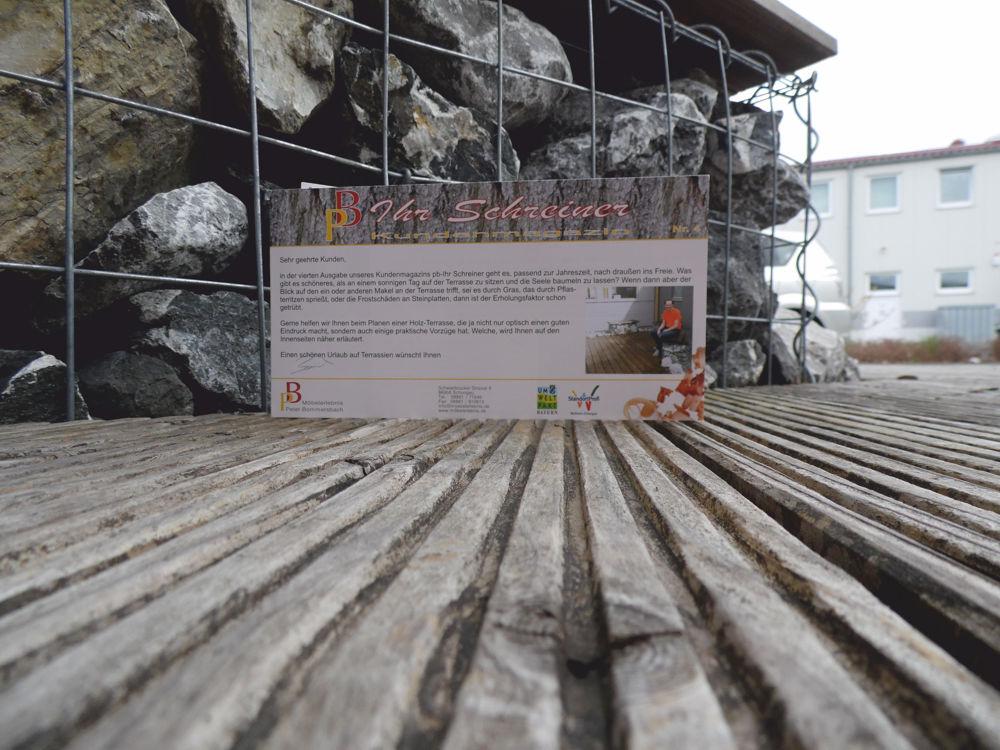 Kundenmagazin ausgabe 4 terrassen aus Holz bei der Schreinerei Möbelerlebnis Bommersbach in Schongau Peiting und im Pfaffenwinkel