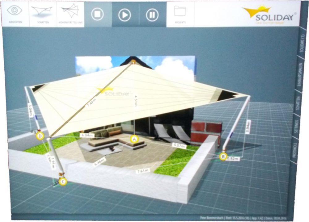Dachterrassen Sonnensegel Planung Soyday App