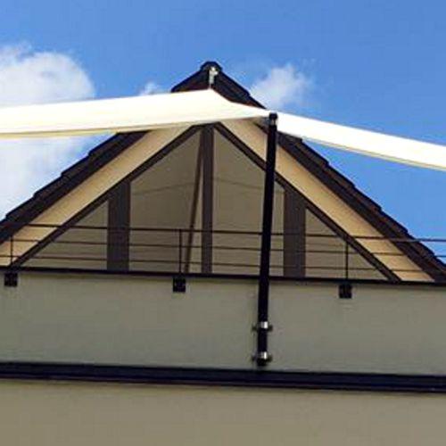 Dachterrassen Sonnensegel Wandbefestigung an der Fassade