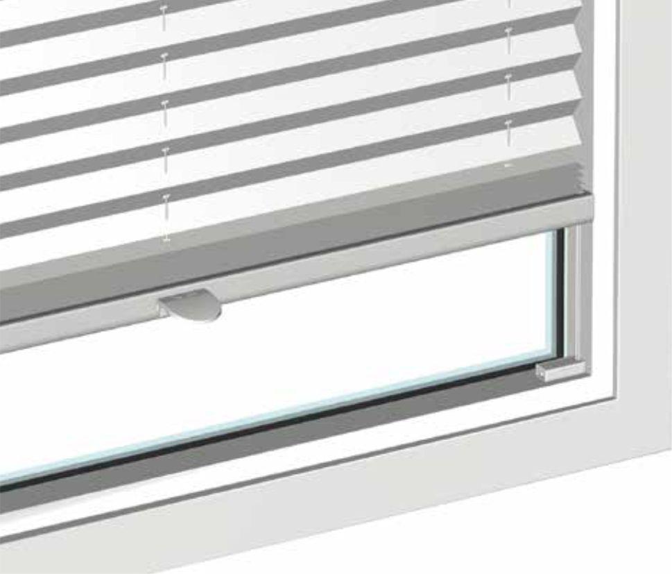 Plissee-Vorhänge Montagemöglichkeit in die Glasleiste mit Spannschuhen