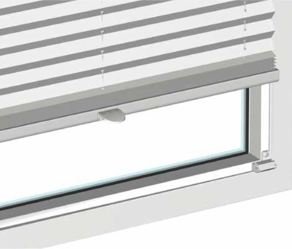 Plissee-Vorhänge Montagemöglichkeit mit Glasleistenträger als Frontmontage