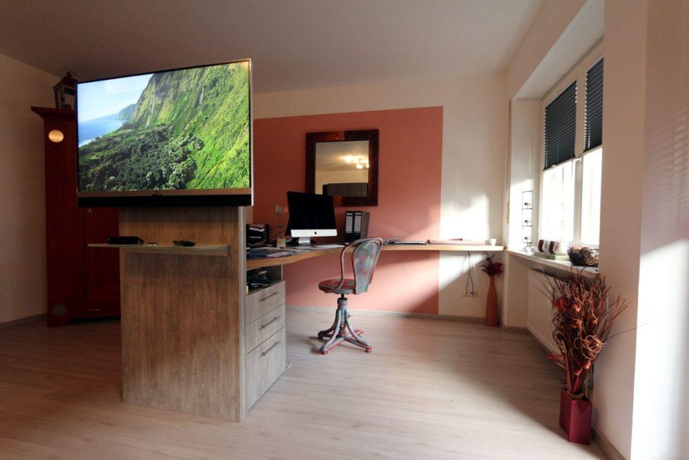 Wohnen und Arbeiten Wohnzimmer Plissee