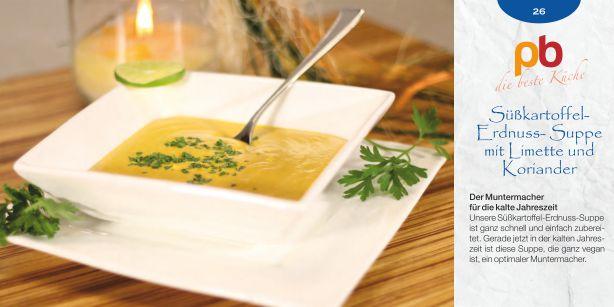Süßkartoffel-Erdnuss-Suppe mit Limette und Koriander