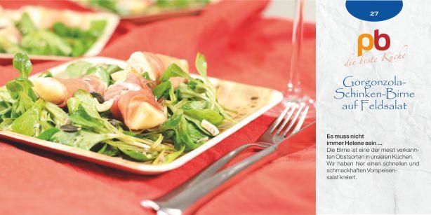 Gorgonzola-Birne-auf-Feldsalat